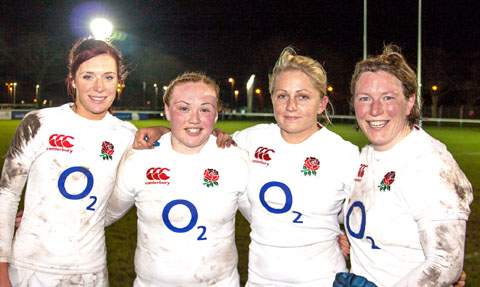 WINNING QUARTET: The four victorious Worcester players who helped England clinch a second victory over New Zealand to clinch the three-match series. From the left: Jo Watmore, Laura Keates, Ceri Large and Rochelle Clark. 	     Picture: NEIL KENNEDY