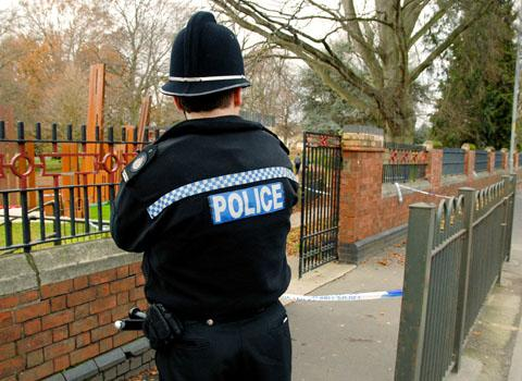 SEALED OFF: A police officer keeps watch over Gheluvelt Park yesterday