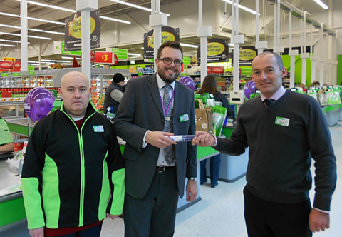 ON-THE-JOB EXPERIENCE: Pictured from the left, Keith Goodman, James Crawford, employment adviser at Remploy, and Richard Kennae, Asda store general manager.