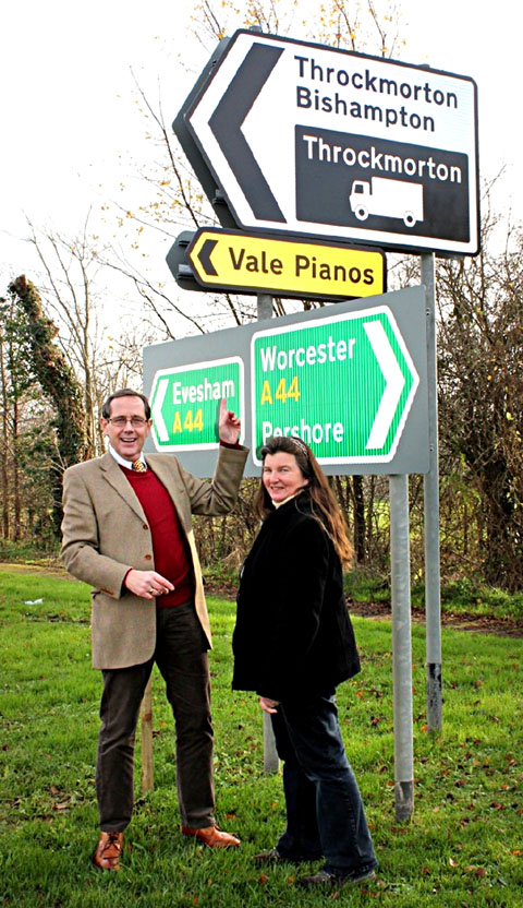 VICTORY: Peter Luff and Linda Lowe with the new signage