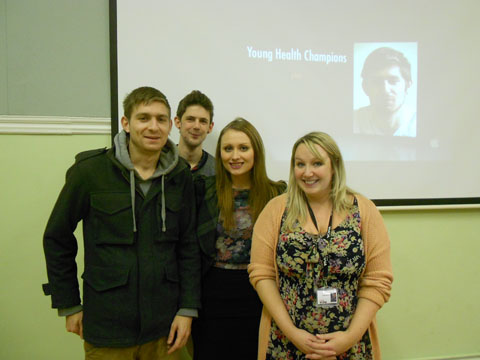 FILM TEAM: Young Health Champions Mark Wilks, Hugo Sugg and Heidi Griffiths, who have contributed to the new film on mental health, with project co-ordinator Leanne Dance.