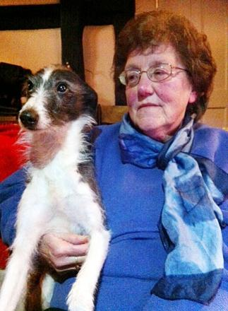 GOOD BOY: Doreen Cope with  Scampi, who disturbed a burglar who had his hand in the till.