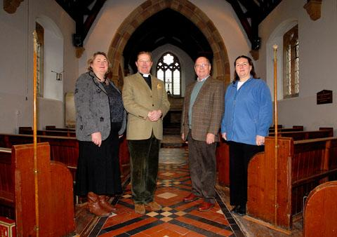 REVAMP: Pictured at St James' Church in Bishampton are, from left, architect Victoria Poole, rector Clive Fairclough, chairman of the Friends of St James Martin Dickinson and Friends committee member Geraldine Stapley. 5012199901