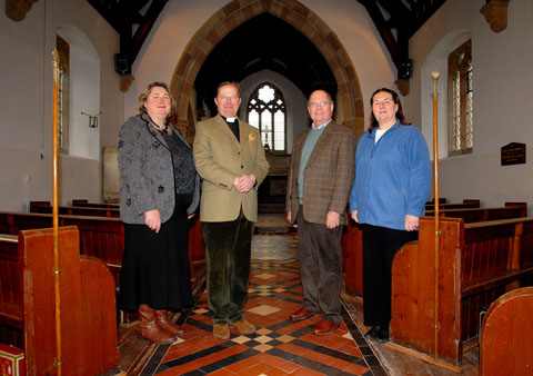 REVAMP: Pictured at St James' Church in Bishampton are, from left, architect Victoria Poole, rector Clive Fairclough, chairman of the Friends of St James Martin Dickinson and Frien