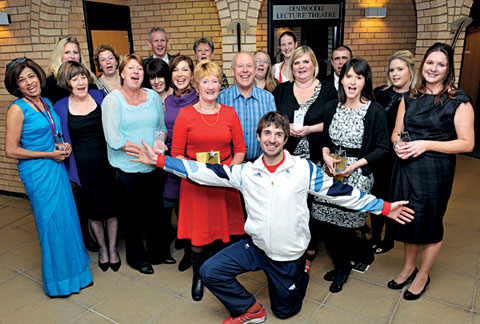 WINNERS: Olympic rower Zac Purchase, front, was on hand to congratulate the award-winning NHS staff at the ceremony.