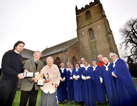 CD SUCCESS: Sound engineer Alasdair Davis, tower captain Henry Morris and artist Cicely Barnes with choir members and bellringers (4912194902)