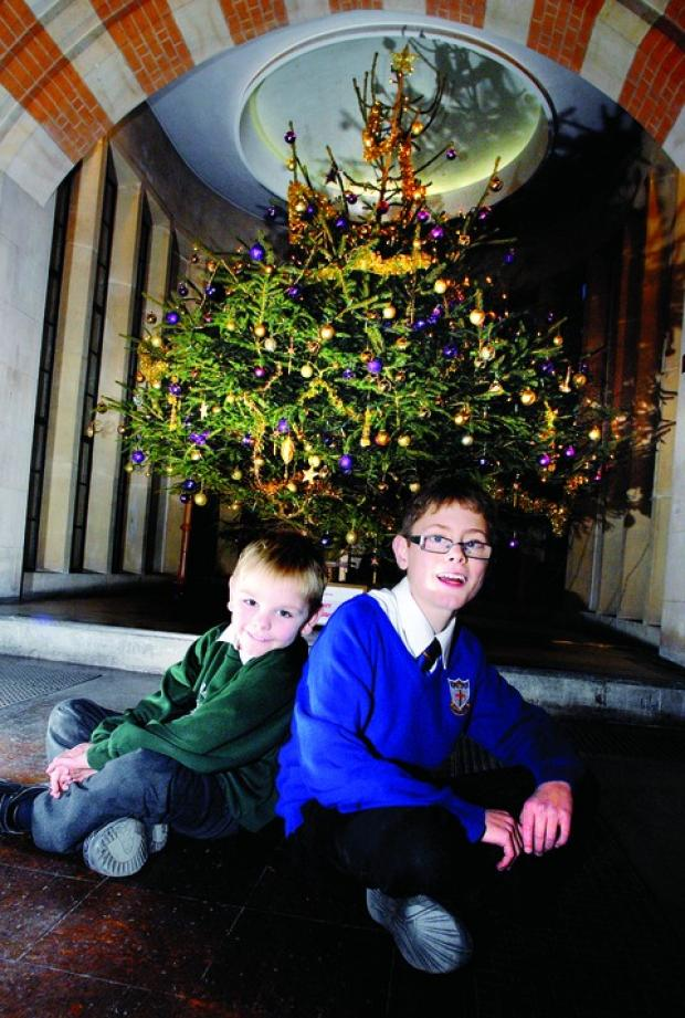 A WINTER WONDERLAND: Brothers James and Christopher Harrison, aged six and 12, with one of the displays in the church festival of Christmas trees. 5012201801