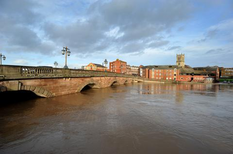 FAST FLOWING: The river Severn in Worcester. 5112210212