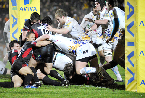 REGAINING CONTROL: Worcester Warriors try to get the ball down during their 13-6 victory over London Welsh at Sixways in the Aviva Premiership on Friday night.