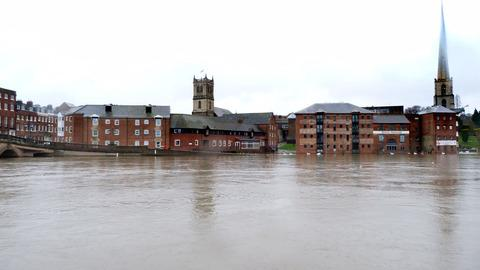 DRAMATIC: Worcester News reader Jason Cook took this picture of the water lapping South Quay, Worcester