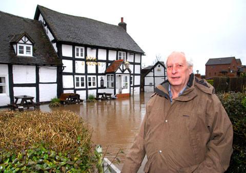 FLOODED: Peter Fryar, landlord of the Rose and Crown, Severn Stoke, which flooded on Christmas Day