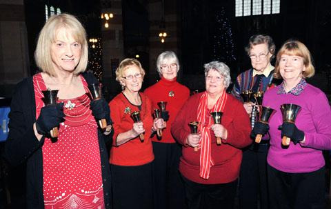 RINGING OUT: Hallow Handbell Ringers Janice Nixon, Jessica Ebbens, Jenny Beacham, Wendy Hartwright, Jean Gardiner and Margaret Prickett. 5112209501