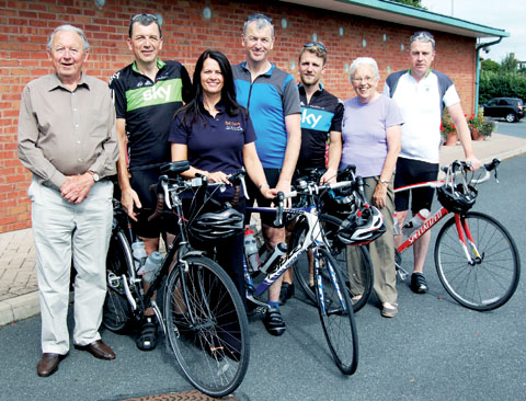 John Todd, left, with riders who cycled from John O'Groats to Land's End for Acorns: brothers Steve, Adrian and Mike Todd with Dorothy Todd and grandson Chris, with Acorns' Carole Crowe, third left.