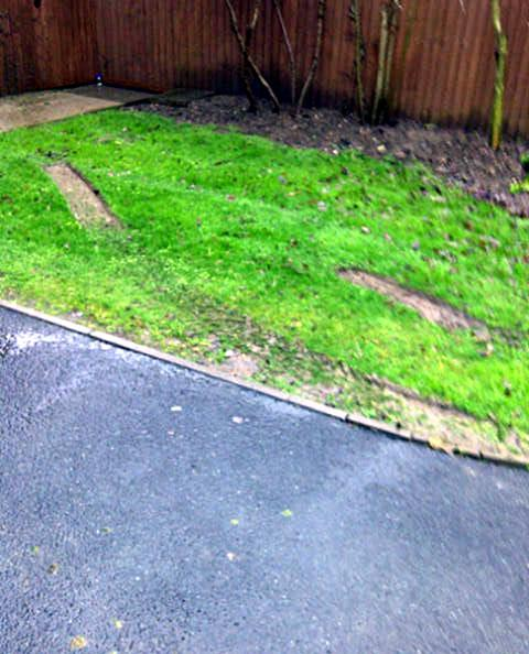 MESS: A driver did wheel spins in the front garden of the Stricklands' home and splattered the house with mud during the bizarre unprovoked attack. Neighbours described the car as a green Jeep/safari-style vehicle.