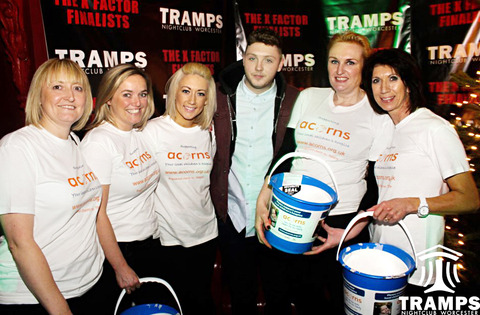 FUND-RAISING EVENING: 2012 X FACTOR winner James Arthur meets and greets members of the team from Acorns Children's Hospice.