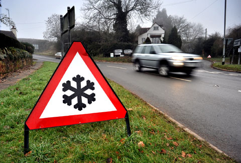 SIGN OF THE TIMES: A warning sign to motorists of ice on the road at Martley.