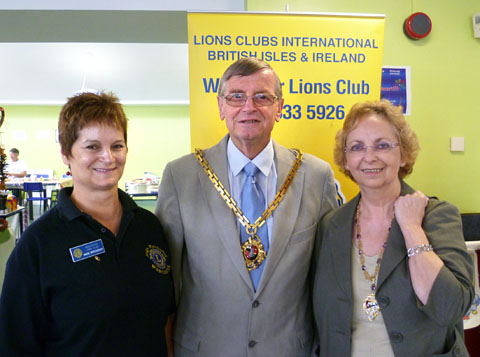 TEAM: Lions president Angie Wytcherley with Worcester mayor Roger Berry and mayoress Jill Berry.
