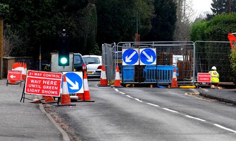 ROADWORKS: The scene on Hallow Road, Worcester, as Severn Trent Water worked to restore the supply to up to 600 homes. Picture by Paul Jackson. 0313224701