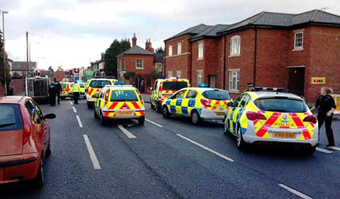 DRAMATIC HALT: Fourteen police cars converged on the scene as the road rage incident reached Malvern Link.