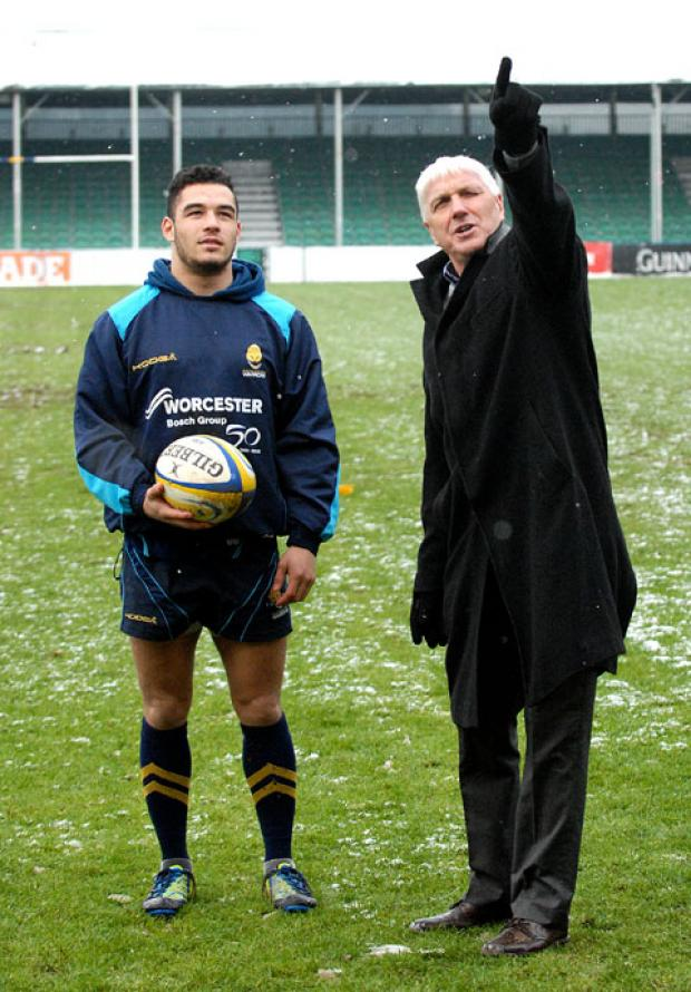 POINTING THE WAY: Ed Morrison (right), the RFU's head of elite referee development, with Worcester Warriors academy's Joe Nellany.