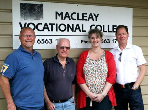 VISIT: From left, Mark Morrison,  MacLeay Vocational College principal; Richard O'Leary, MacLeay Regional Co-operative chief executive; Belinda Fowler, MVC bursar; and Dr Chris Cooper.