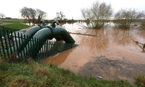 NO DEFENCE: The flood pumps at Kempsey, which failed on November 25, resulting in 15 homes in the village being flooded.