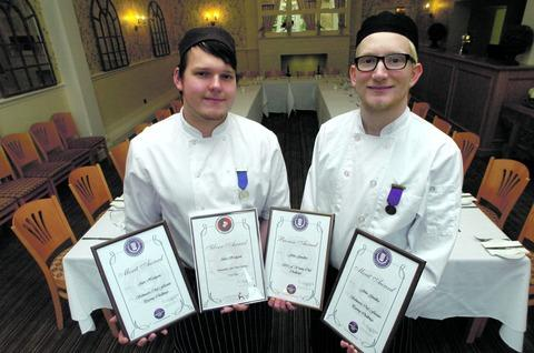 Alex Hodgson, pastry chef, and John Goodby, sous chef, with their awards at St Andrew's Town Hotel, Droitwich.