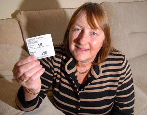Worcester News: THE NIGHT I SAW ROD STEWART: Pauline Horton with her ticket from April 10, 1973, to see Rod Stewart with the Faces. 0413229101