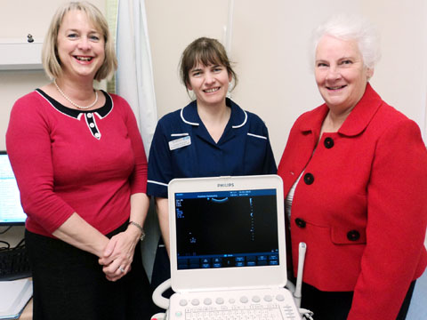 SCAN: From left, Patti Paine, head of midwifery with Aldona Morrison, midwife sonographer lead and Frances Smith from the Friends of ECH with their new s