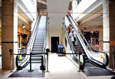 STOPPED: The escalator in CrownGate centre has been out of action since Christmas.