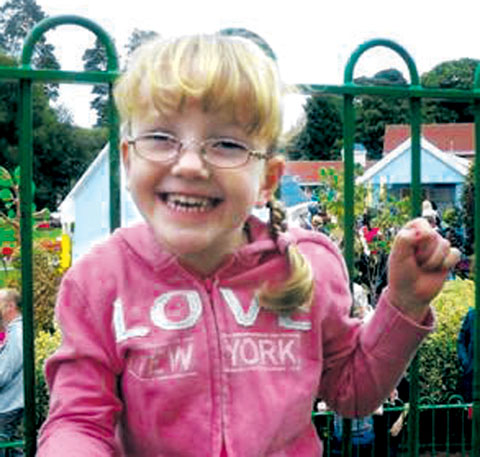 APPEAL: Sophie Thompson suffers from spastic diplegia cerebral palsy and needs an operation to help her walk.