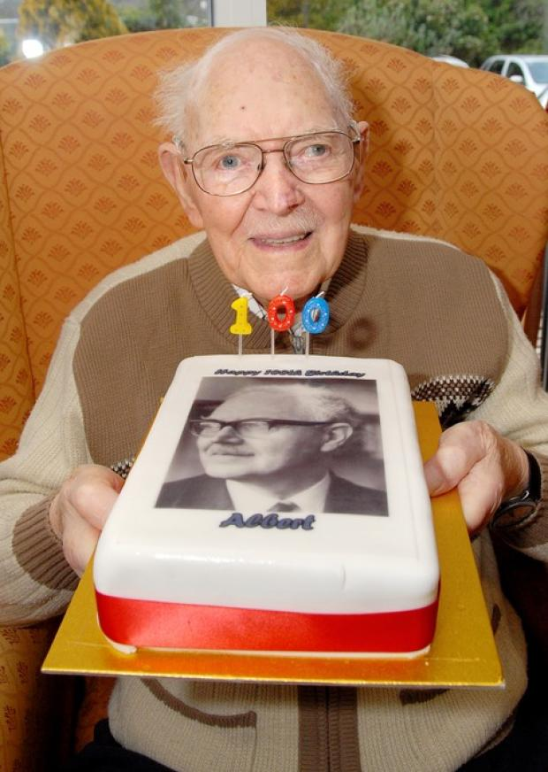 BIRTHDAY BOY: Albert Ludford with his fun birthday cake.