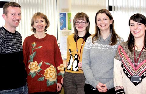 FASHION VICTIMS: Members of Worcestershire County Council's sustainability team wearing their 'woolly pullies' to raise smiles and cash. From left, Christopher Atkinson, Liz Alston, Heather Lammas, Katie Bruton and Elizabeth Harris.
