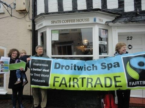 Members of Droitwich's fair trade group highlight Fairtrade Fortnight.