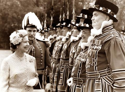 Lord Sandys accompanies the Queen on her inspection of the Yeoman of the Guard