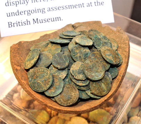 TREASURE: This hoard of Roman coins was discovered by metal detecting enthusiasts.