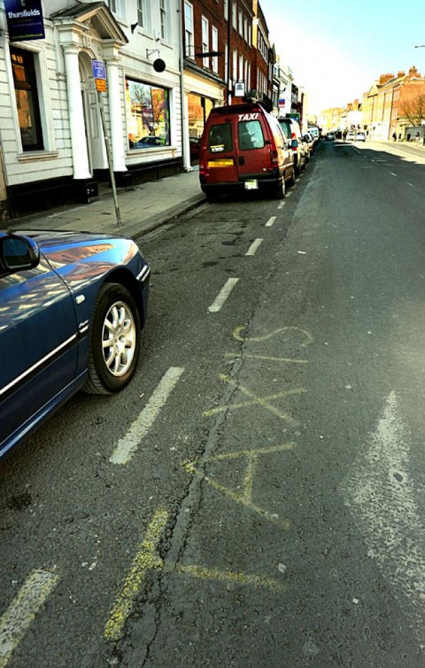TEMPORARY RANK:  Parking bays by Foregate Street Bridge where Mrs Baldwin was fined. 0813250801