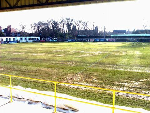 PITCH PROBLEMS: Here's an image taken by Steve Carley from Harrogate Town where City lost 3-1 on Saturday.