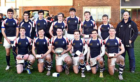 CHAMPIONS: The King's School squad who won the Christ College Brecon Sevens tournament line up for the camera.