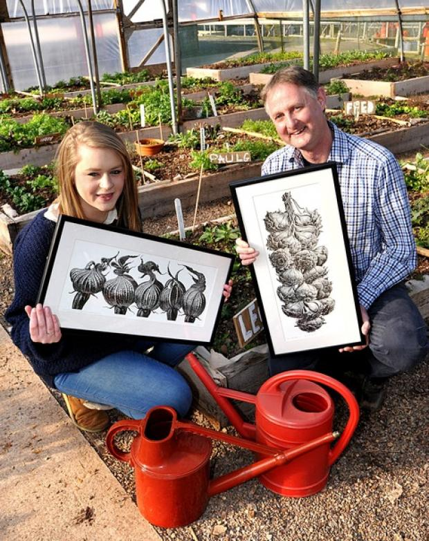 INSPIRING ART: Hannah Thain, of the Foal Yard Gallery, with printmaker Trevor Haddrell.