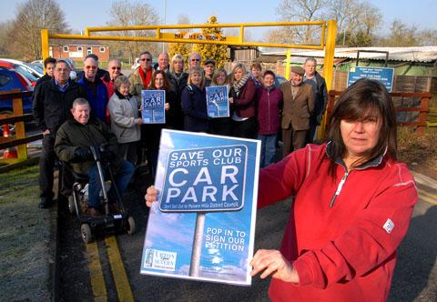 BACKING: Upton Tourism and Trade Association chairman Annette Keyworth at the Old Street car park with local people who have signed the petition against parking charges.