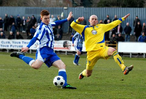 ALL-ACTION DISPLAY: Worcester City striker Danny Glover (left) put in a hard-working display at both ends of the pitch but this proved in vain as his side crashed to a late defeat in Blue Square Bet North at St George's Lane.