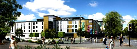 ARTIST'S IMPRESSION: The £10million redevelopment of New Road, which includes a Premier Inn hotel as well as executive areas and office facilities, has been delayed this winter.
