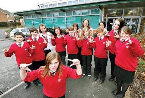 Pupils at Dyson Perrins Academy in Malvern practising for the world record bid. 06463801.