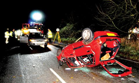 The scene of the crash on the A449