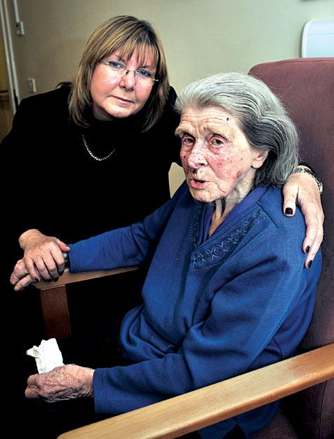 LEFT WAITING: Joy Squires, left, with pensioner Betty Newberry, who had a 12-hour wait for a bed at Worcester's Worcestershire Royal Hospital. Picture by Jonathan Barry. (0913257901)