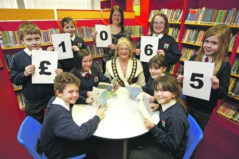 Mayor Anne Taft with teacher Rachel Humphries and pupils from Westacre Middle School.