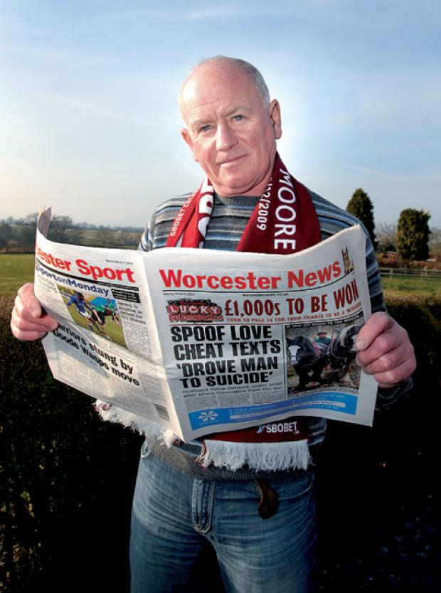 POWER OF THE PRESS: West Ham United fan Chris Barmby had his newspaper confiscated at Stoke City's Britannia Stadium turnstiles. 1013261005