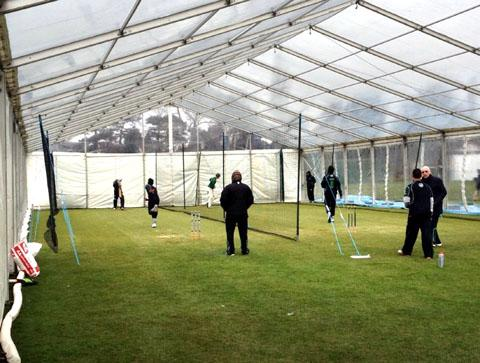 MARQUEE ACTION: Worcestershire in pre-season training at Kidderminster Victoria's Chester Road ground. Picture: TIM PACKWOOD.
