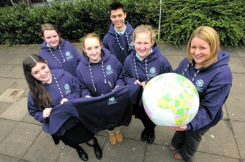 Grace Cowen, 14, Jake Avcott, 16, Hannah Terry, 14, Vicky Lake, 17, and Georgina Knight, 15, with teacher Jenny Ruddick.